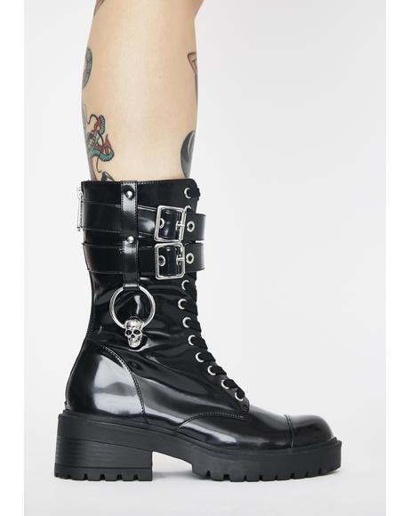 Bone O-Ring Combat Boots