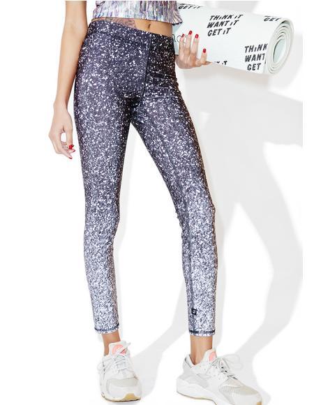 Glitter Print Capri Leggings