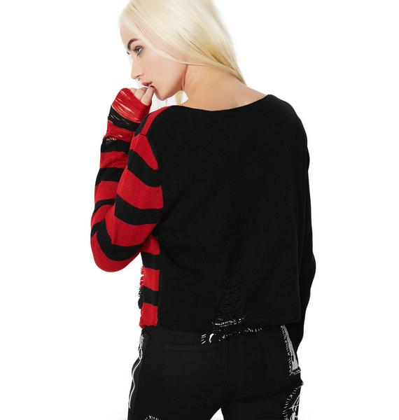 Killstar Little Horn Crop Knit Sweater