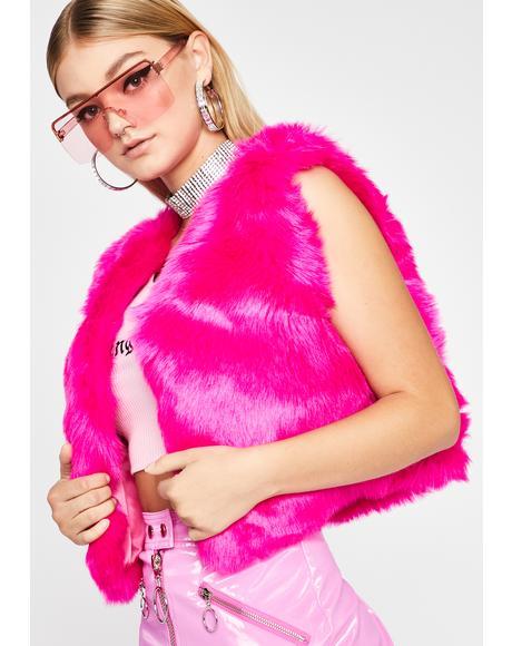 Fuschia Wild Gal Faux Fur Vest