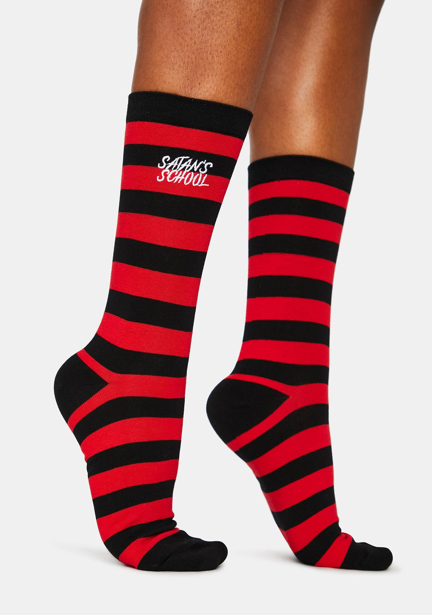 High School Hell Striped Crew Socks