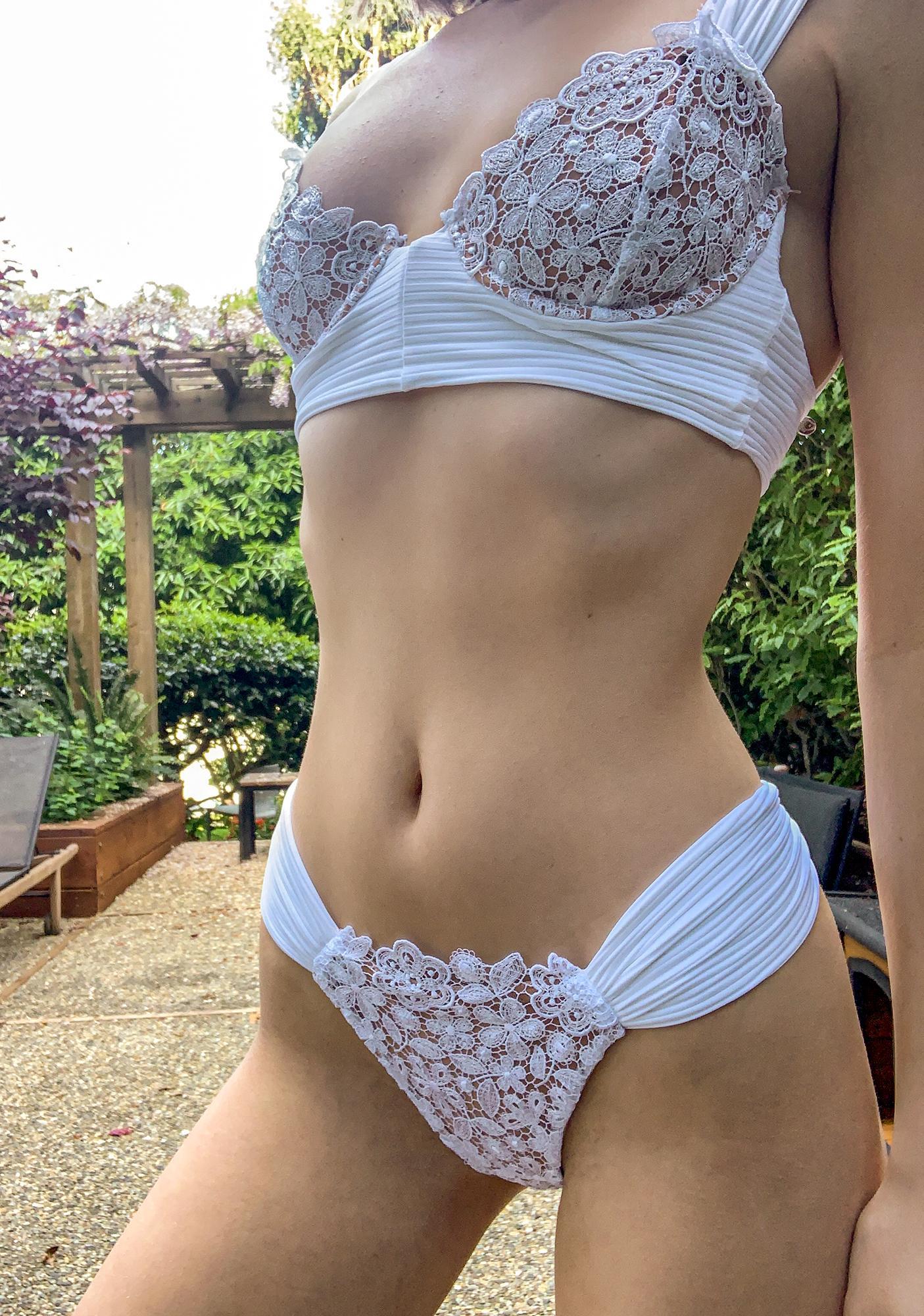 For Love & Lemons Ivory Daisy Lace Bikini Bottoms