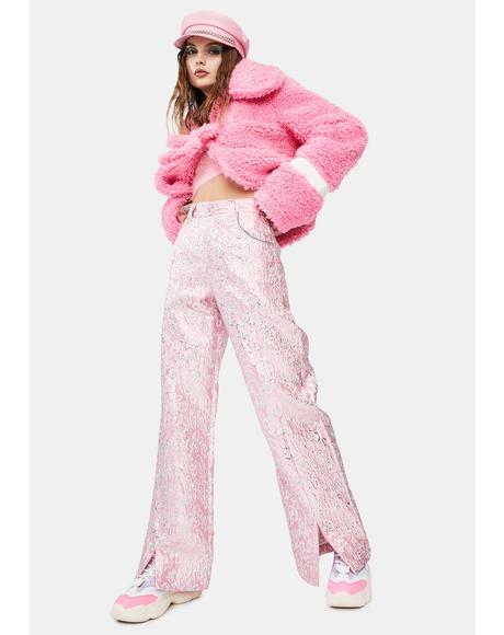Flower Metallic Split Trousers