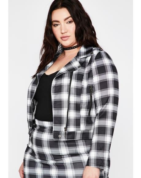Black Pretty Plaid Action Moto Jacket