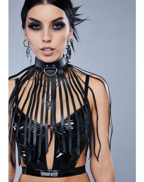 Kickdrum D-Ring Choker With Long Fringe