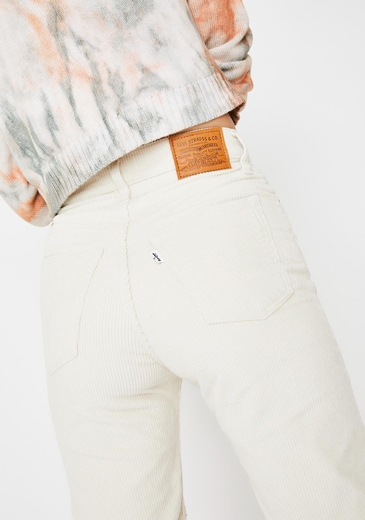 Levis Ecru Corduroy Ribcage Straight Leg Ankle Jeans