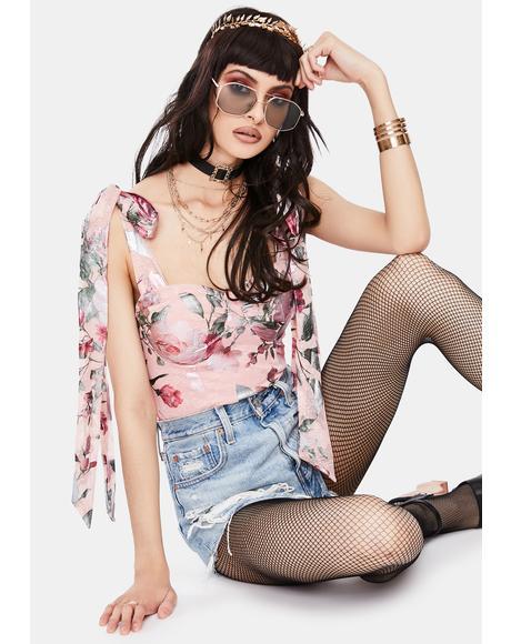 Pink Metallic Lace Floral Bodysuit