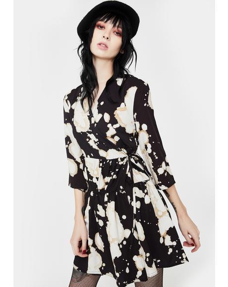 Black Drip Smock Dress