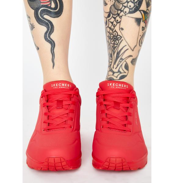 Skechers Red Stand On Air Uno Sneakers