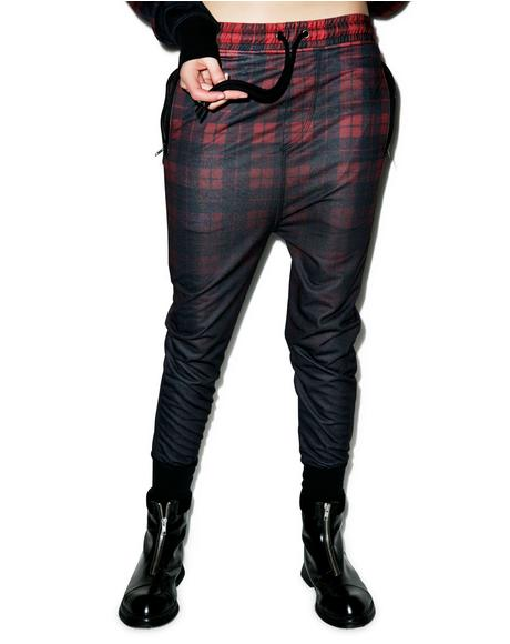 Tartan Dropcrotch Sweatpants