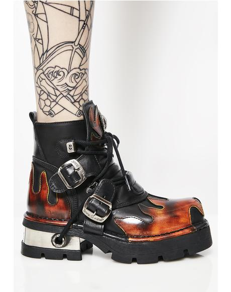 Leather Flame Ankle Boots