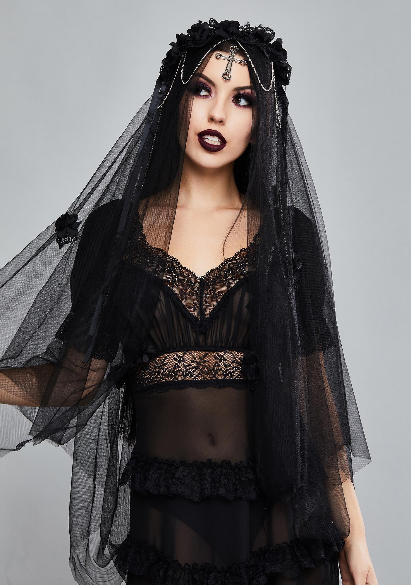 Dark In Love Gothic Cross Bride Veil