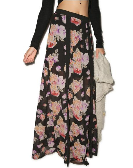Light Floral Breeze Maxi Skirt