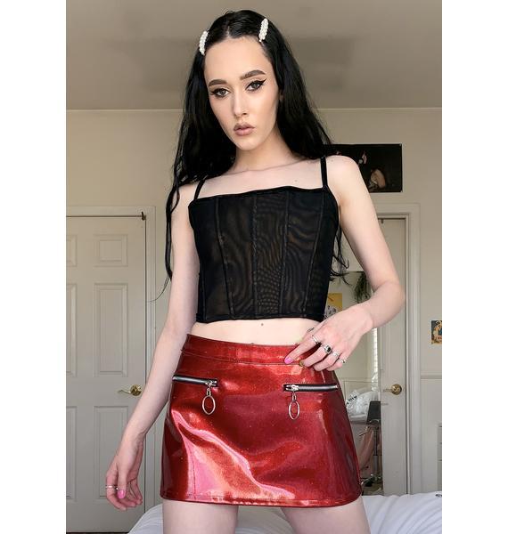 HOROSCOPEZ Haute Tempered Mini Skirt