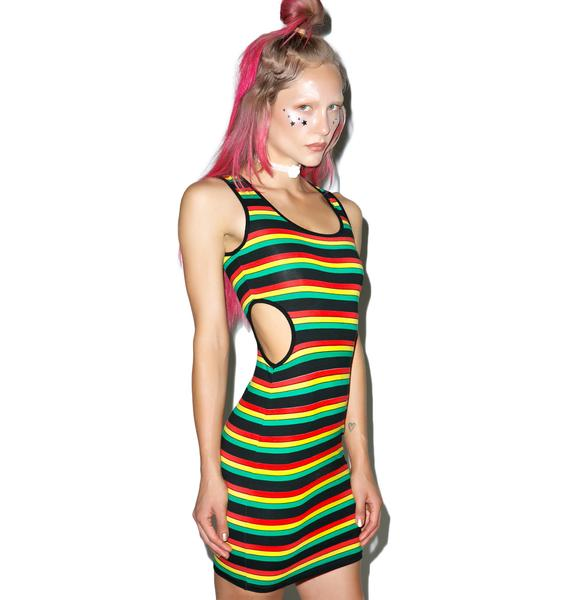 Motel Reggae Stripe Cullen Cutout Dress