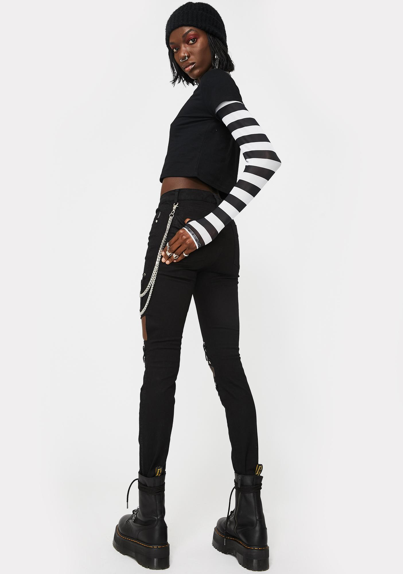 Tripp NYC Knee Cut-Out Lace Up Jeans