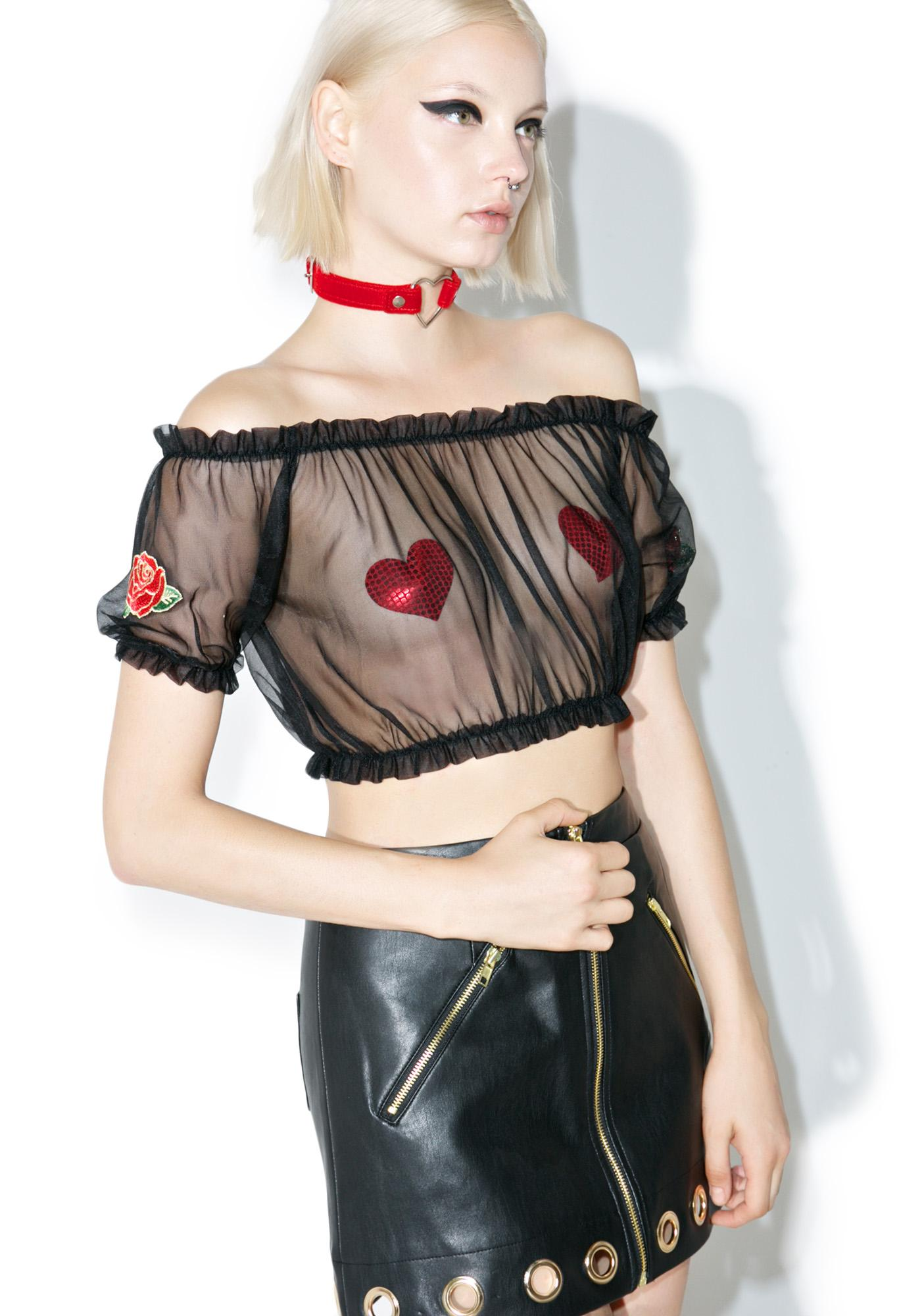 one spo Sheer Rose Crop Top