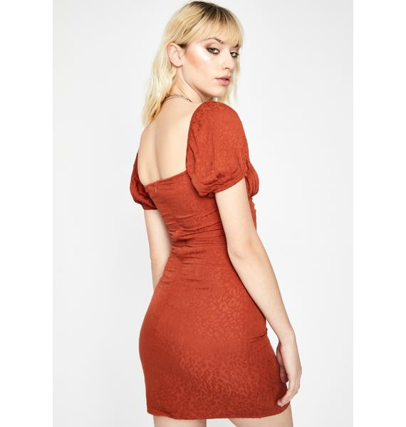 Rust Ultra Chic Jacquard Dress