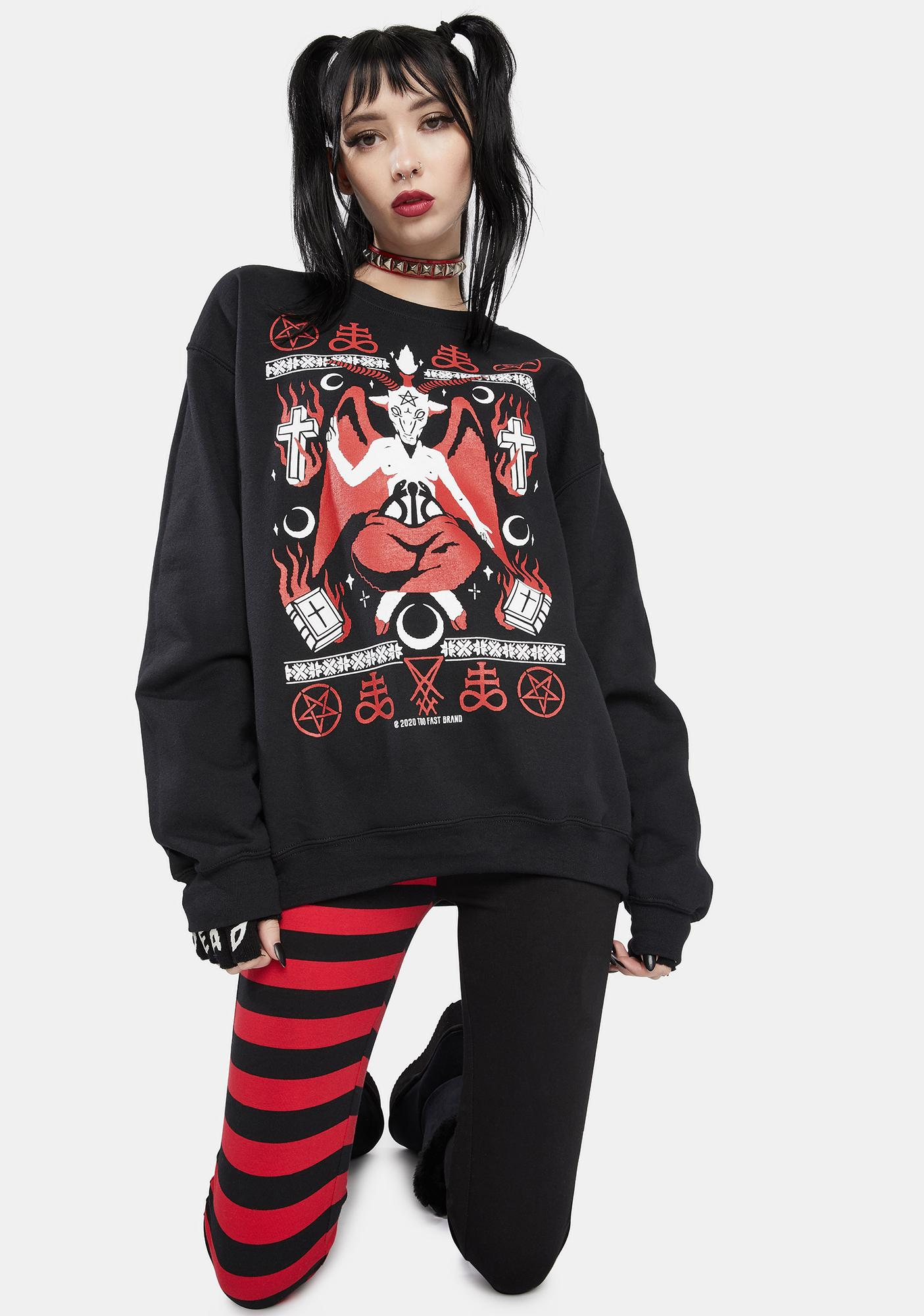 Too Fast Baphoclaus Christmas In Hell Graphic Sweatshirt
