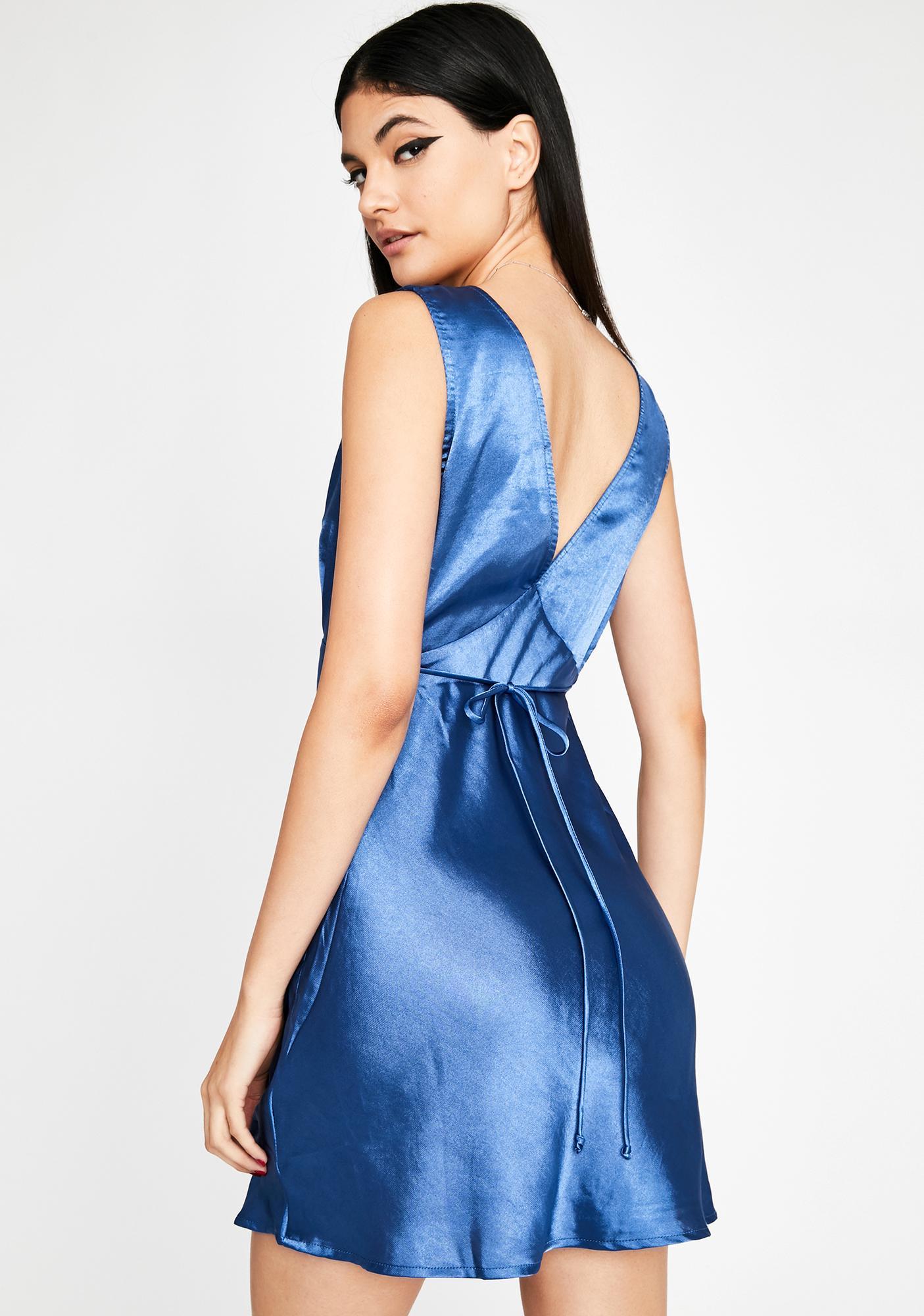 Azure Feelin' Dreamy Satin Dress