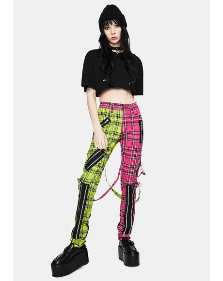 Lime Pink Madness Plaid Pants