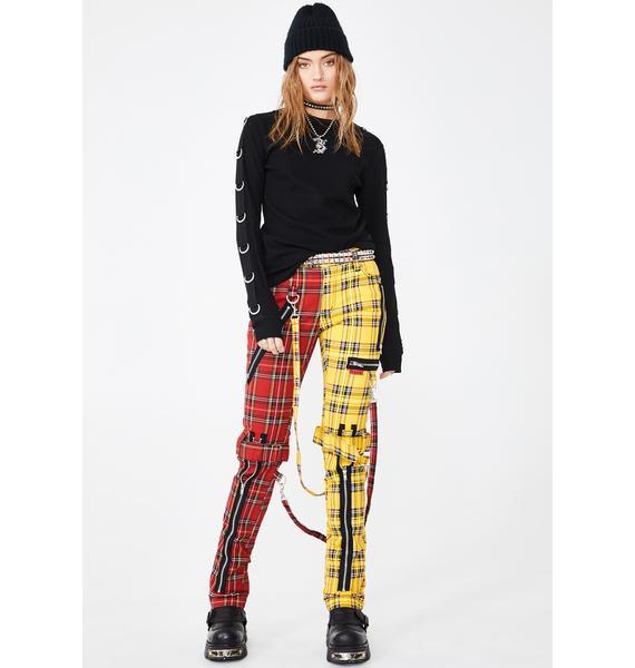 Tripp NYC Split Leg Plaid Bondage Pants