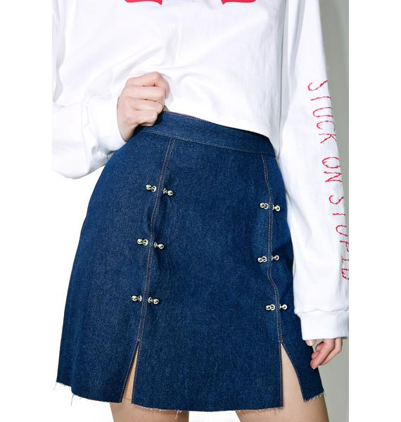 Stuck on Stupid Dark Blue Denim Skirt