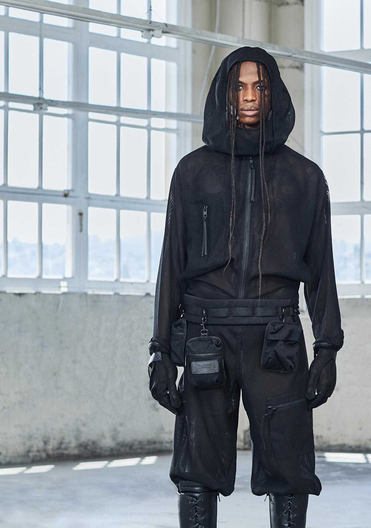 DARKER WAVS Bassline Sheer Hooded Jumpsuit