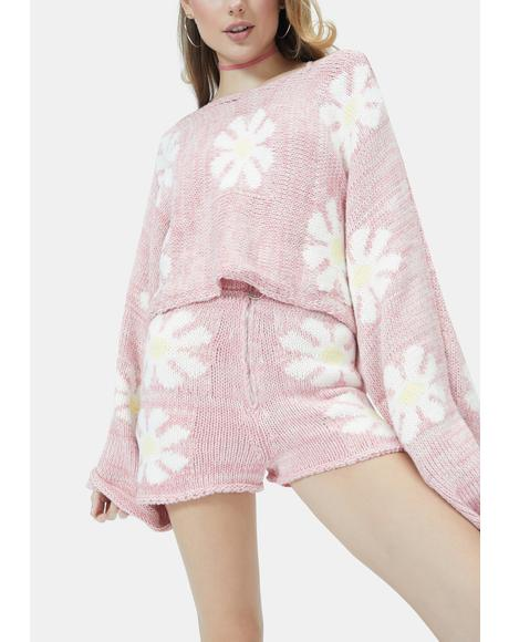 Baby Playin' With You Floral Knit Shorts
