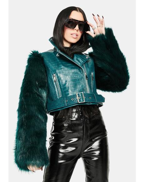 Green Nolla Faux Fur Croc Moto Jacket