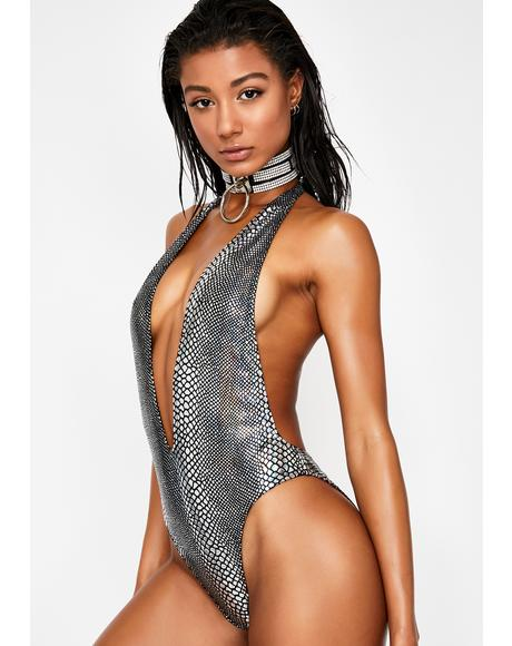 Silver Serpent Plunge One Piece Swimsuit