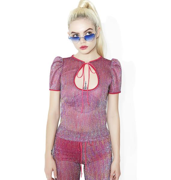 Sugar Thrillz Teenage Rampage Glitter Keyhole Top