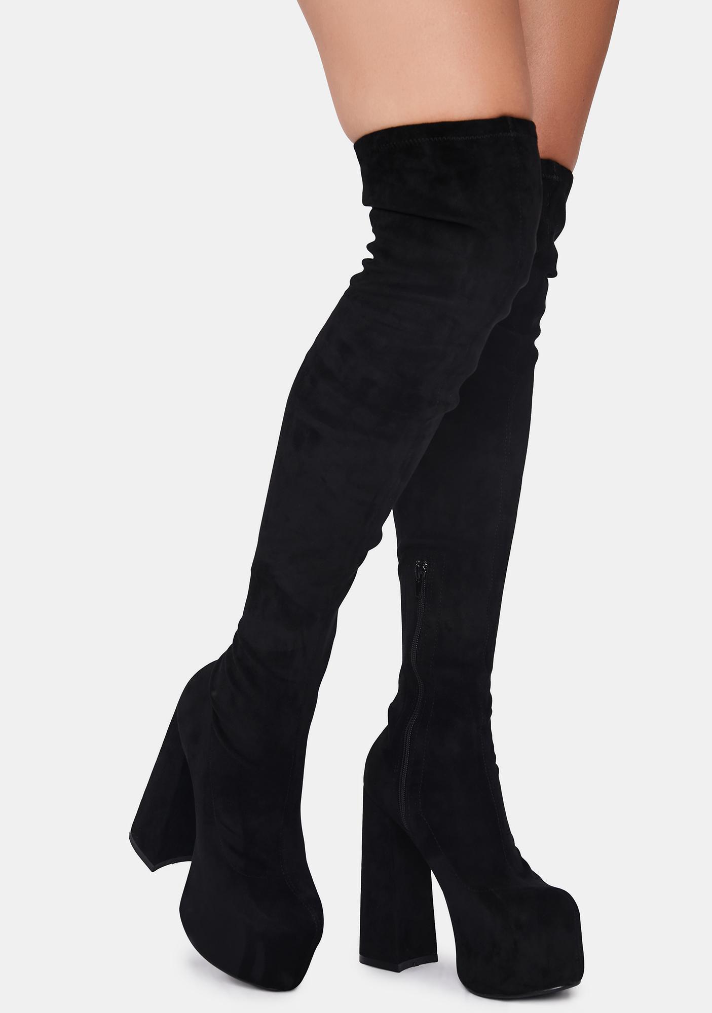 Lemon Drop by Privileged Black Suede Havasu Knee High Boots