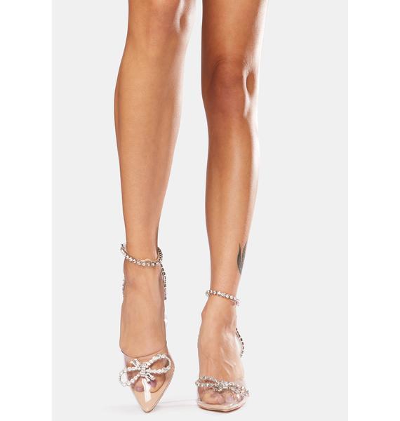 Public Desire Nude Cinderella Diamante Bow Heels