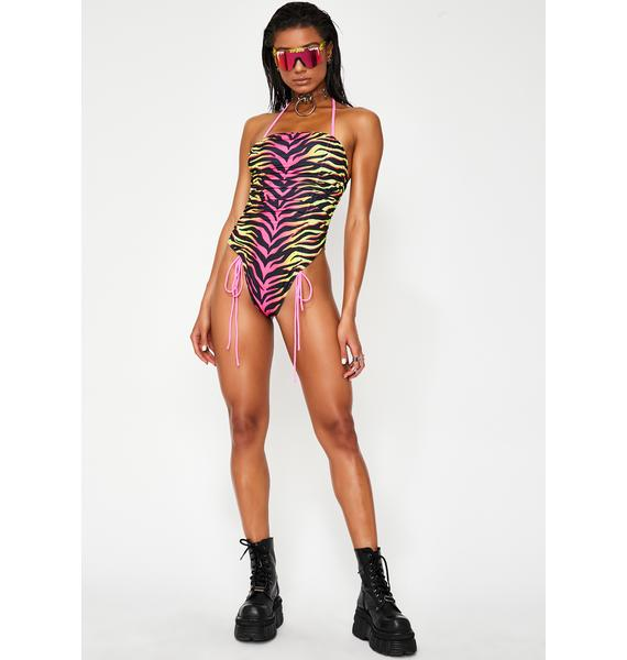 Jaded London Technicolor Tiger Ruched One Piece Swimsuit
