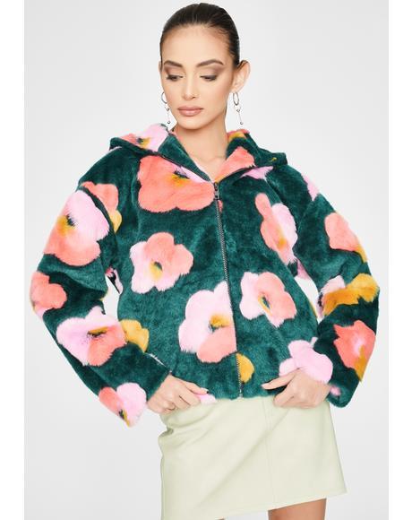 Floral Fuzzy Zip Up Hoodie