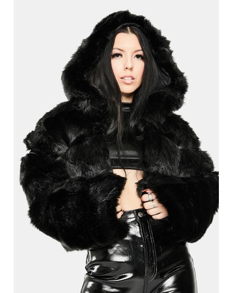 Black Bape Faux Fur Jacket