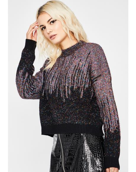 Midnight Cosmic Icicles Tinsel Sweater