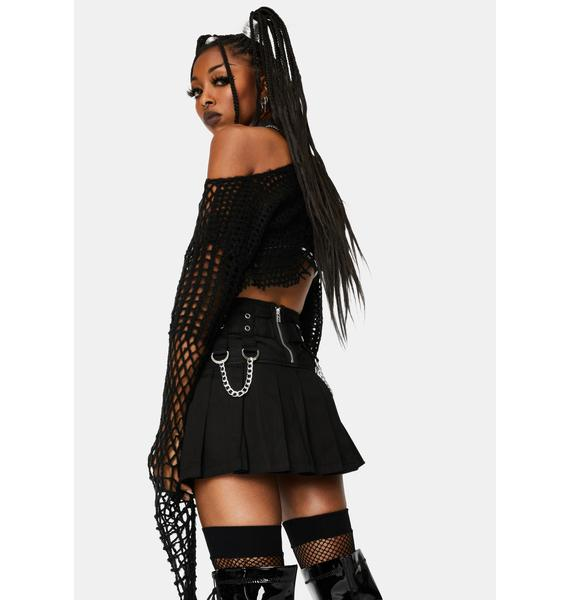 Tripp NYC Black Stud And Chain Mini Skirt