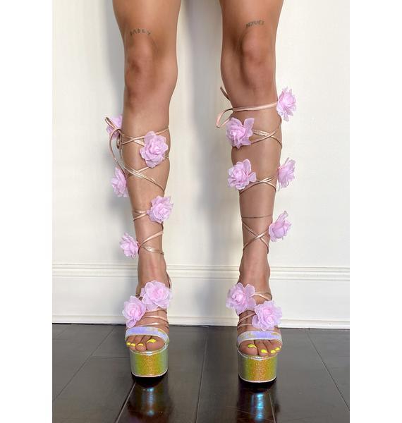 Sugar Thrillz Crystal Garden Wrap Heels