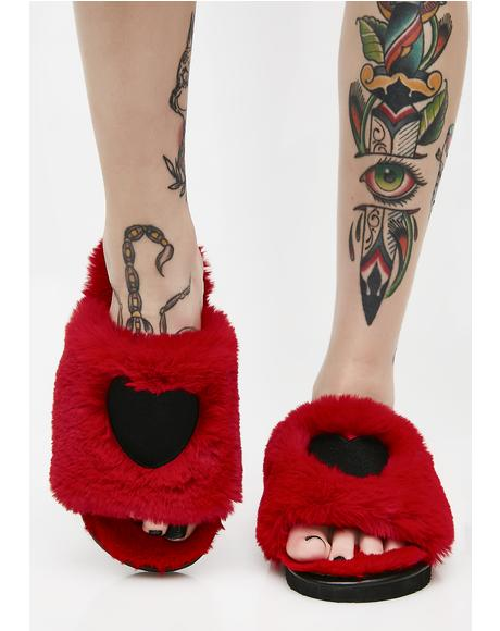 Fur Heart Slippers