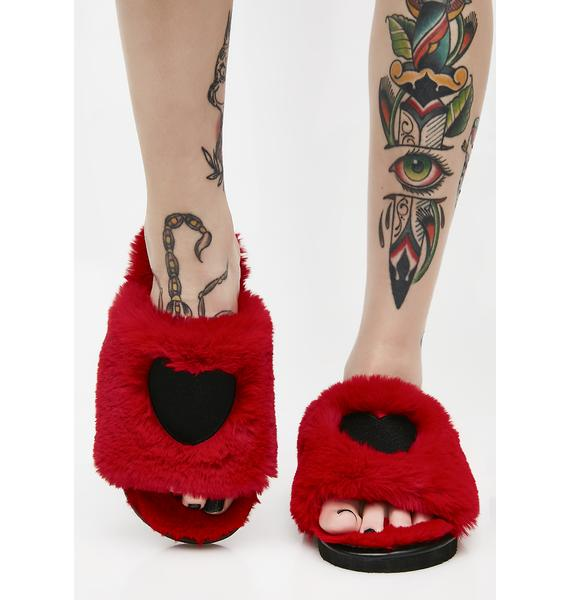 Lazy Oaf Fur Heart Slippers
