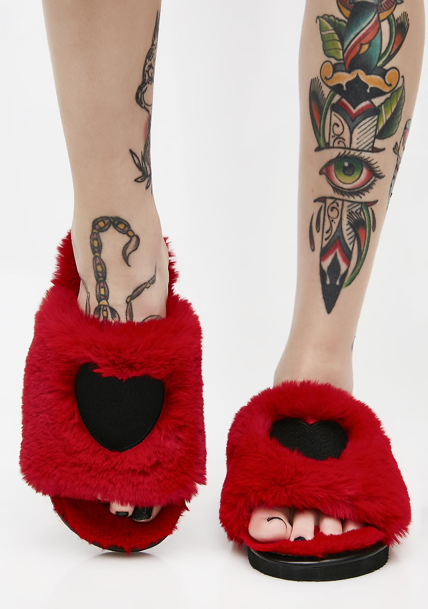 Lazy Oaf Fur Heart Slippers