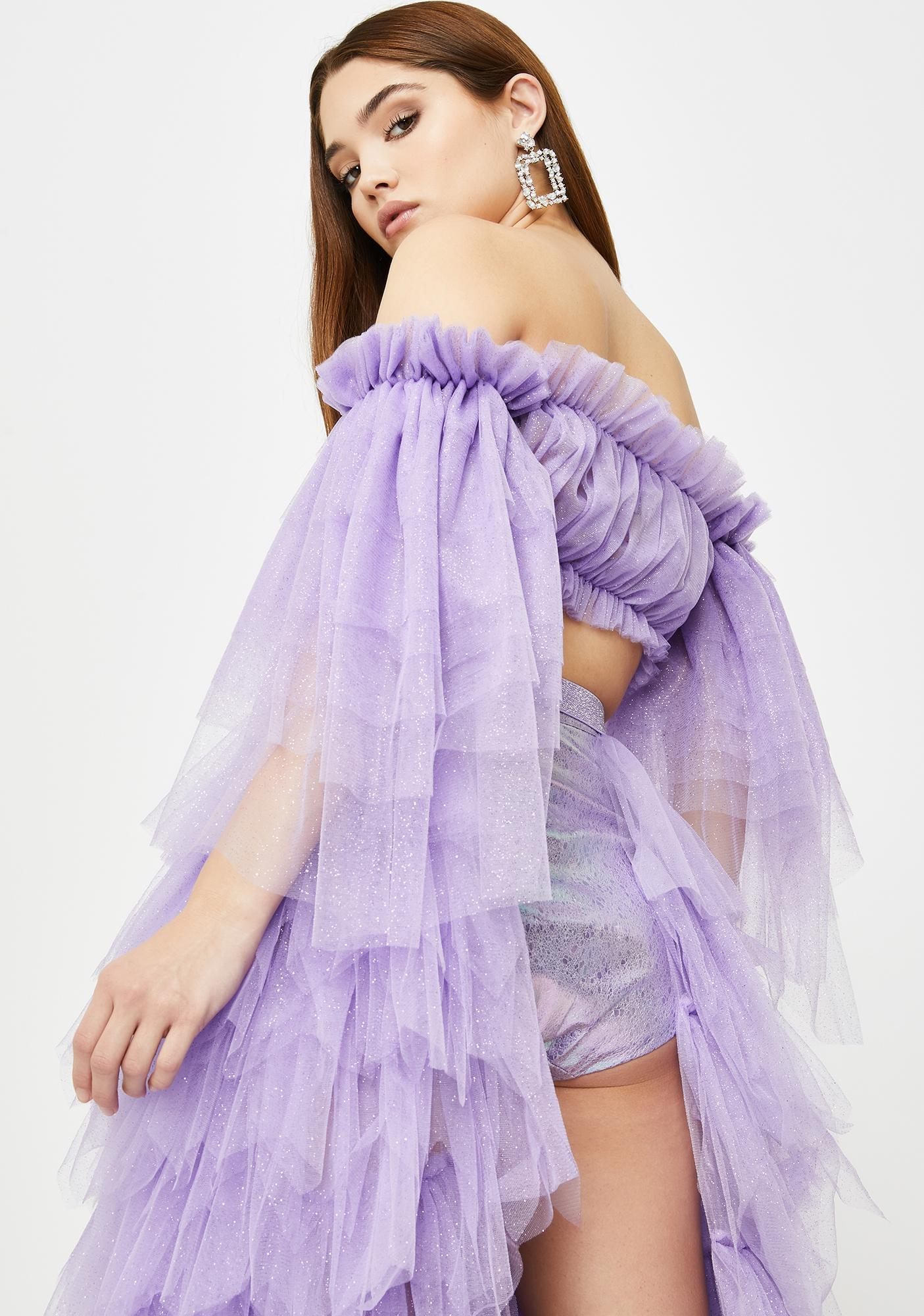 SHRINE Purple Ida Tulle Blouse Top