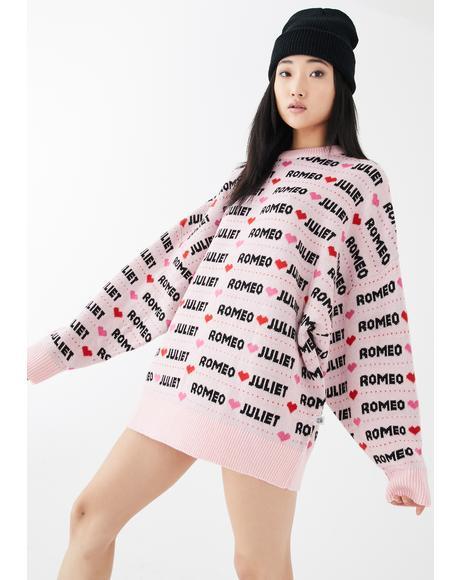 x Romeo & Juliet Pink Big Knit Sweater