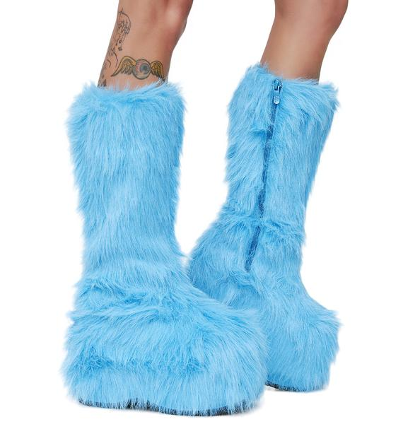 Electric Party Monster Fuzzy Platform Boots