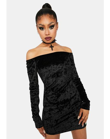 Past Midnight Velvet Mini Dress