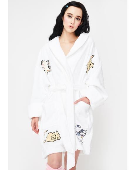 Cat Applique Short Robe