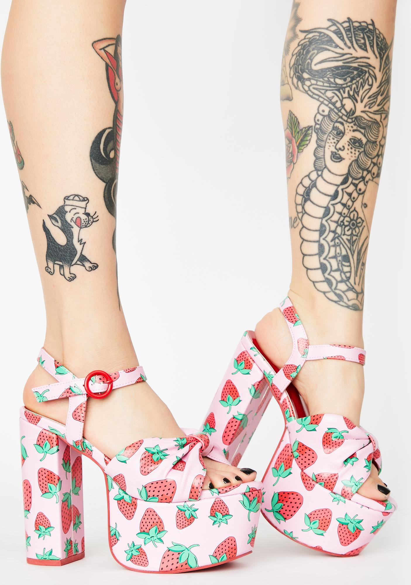 Sugar Thrillz Strawberry Fields Platform Heels