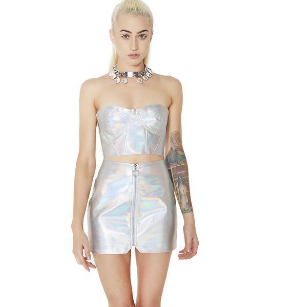 Silver Supernova Girl Metallic Bustier